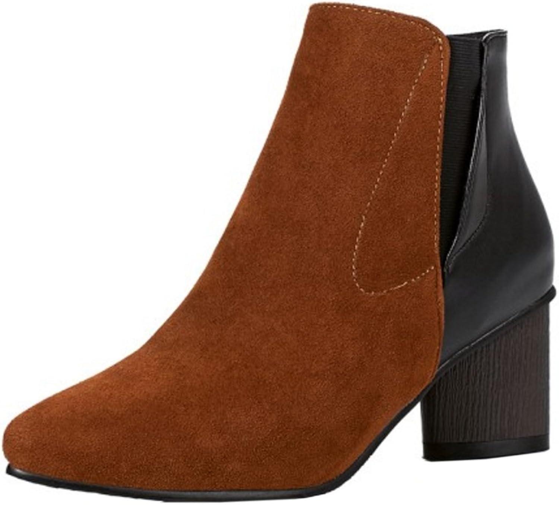 FANIMILA Women Fashion Mid Heel Short Boots Pull On