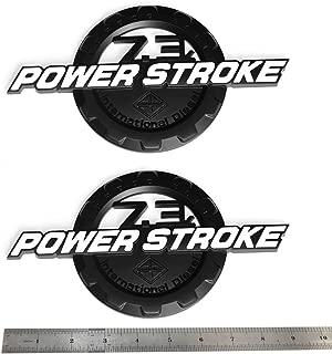 2pcs OEM Black White 7.3L Power Stroke International Side Fender Emblems Badge Powerstroke 3D Logo Replacement for F250 F350