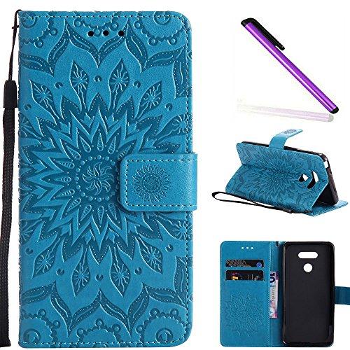 COTDINFOR LG G6 Custodia Premium PU Leather Mandala Fiore Wallet Custodia a Rilievo Custodia Flip Case con Kickstand Card per LG G6 Blue Sunflower KT.