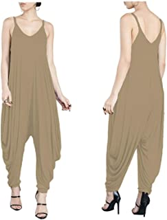 QegarTop Womens Jumpsuit Casual Crewneck Off one Shoulder Short Sleeve Elastic Waist Romper Playsuits with Pockets