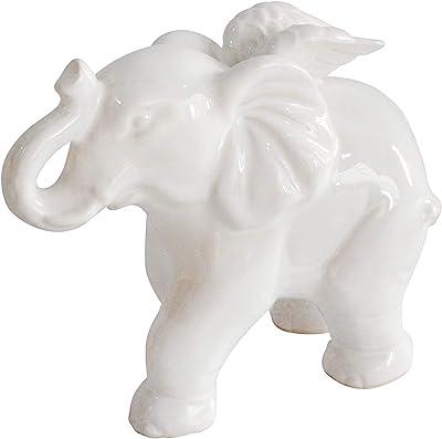 "Sagebrook Home 14938 Ceramic 7"" Elephant Angel Figurine, White"