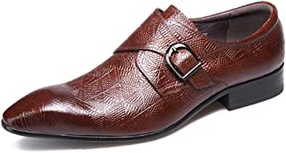 Men's Monk Shoes, Business Leather Shoes Banquet Wedding Dress Shoes Single Buckle Pointed Footwear,Red-37
