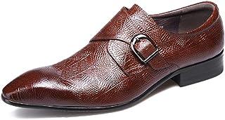 Chaussures Monk hommes,Chaussures en cuir d'affaires Chaussures Robe de mariée banquet Boucle simple Chaussures Pointu,Red-37