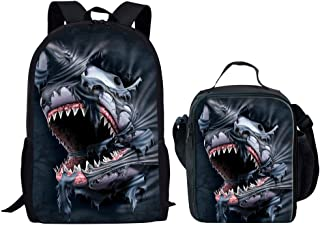 INSTANTARTS Animal Shark School Backpack Set Book Bag Thermal Lunch Lunchbag Black