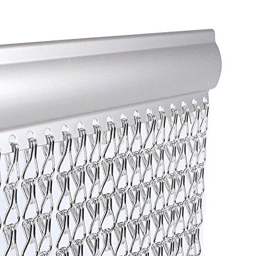 Vermatik vlieg scherm 90 cm x 210 cm Premium aluminium vliegdeurkettinggordijn voor deuropeningen, horren, houdt insecten, vliegen, wespen, horren binnen en buiten buiten