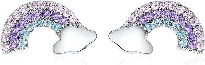 Hypoallergenic Stud Earrings for Girls S925 Sterling Silver Rainbow Cute Earrings Gifts for Teen Girls