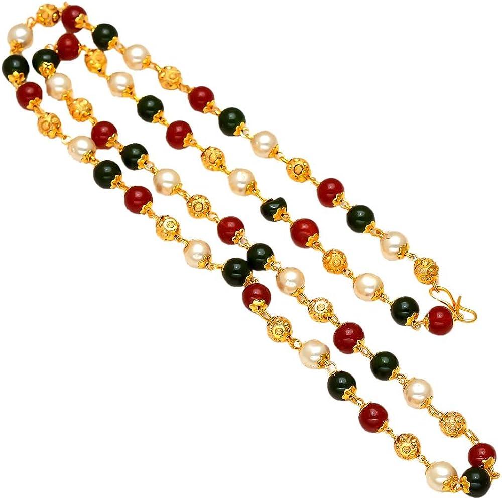 Chain 24 Inch Handmade Red White Black Pearl Polki One Gram Gold Gokhru Necklace Set 7381