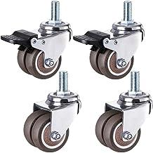 Casters Zwenkwielen, industriële wielen met draadstang, M12 x 25 mm, zwenkwiel van robuust rubber, dubbele wielen, reserve...