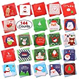 144 Count Mini Christmas Cards, Konsait Merry Christmas Assorted Greeting Cards Blank Note Cards Xmas Card with Envelopes, Ideal for Kids Gift Box Winter Holiday Christmas Party Favor Supplies