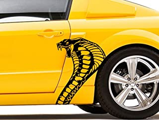 Clausen's World Cobra Snake Head Body Car Decal Vinyl Graphics 20.5x26.25 Inches, Fits Ford Mustang and Shelby, Both Sides, White