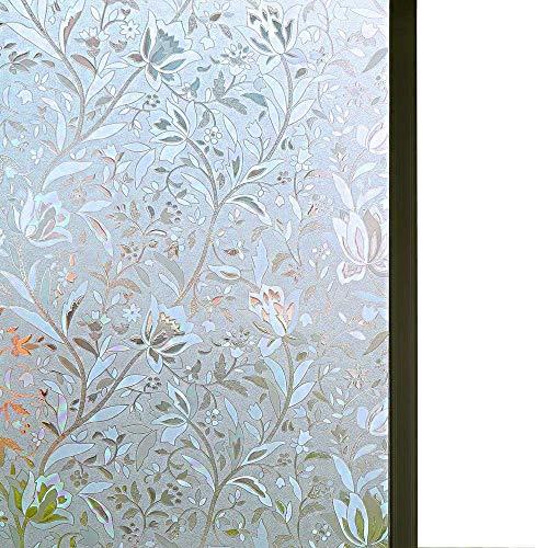 Niviy Ausgezeichnete Qualität 3D Statisch haftend Fensterfolie nicht klebend Fensterabdeckung Dekorative Blume Sichtschutzfolie für Fenster 89,9 x 299,7 cm