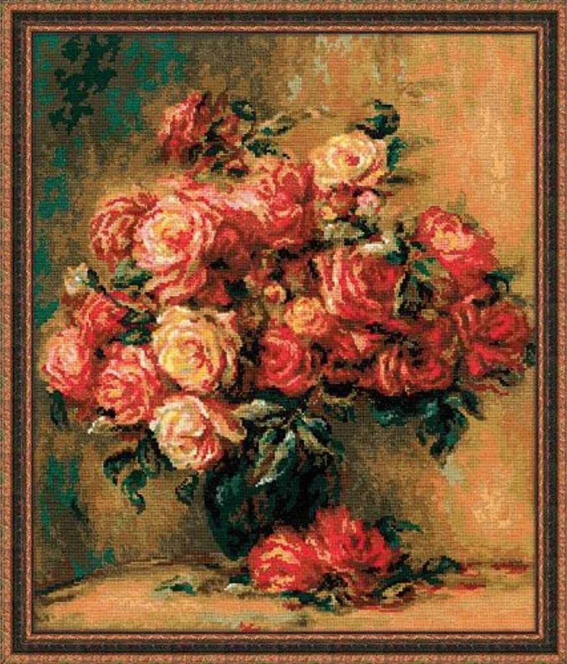 RIOLIS 1402 - Bouquet of Roses After Pierre-August Renoir's Painting - Counted Cross Stitch 15.75
