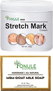 Ionule MSM Stretch Mark Cream with Goat Milk Soap for Men and Women Combo Pack of 2 - (2 X 90 gm)