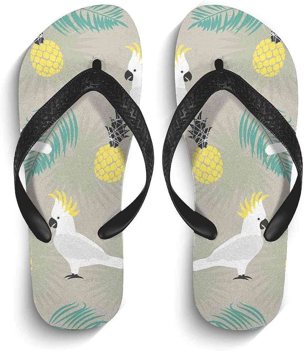 InterestPrint Non-Slip Flip Flops Sandal Cute Parrots Palm Leaves and Pineapples Lightweight Summer Beach Thong Slippers for Men S