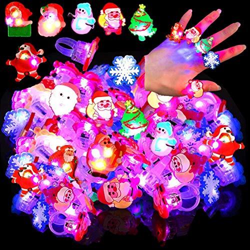 50 Pcs Christmas Light Ring Light Up Christmas LED Rings Christmas Party Favors Glow Up Rings Flashing Finger Rings for Kids