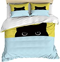 Sweet - Home 3 Piece Bedding Set California King Quilt Cover Set for Kids/Adults/Gifts, Shy Black Cat Soft Cozy Comforter/Duvet Cover with Zipper Closure