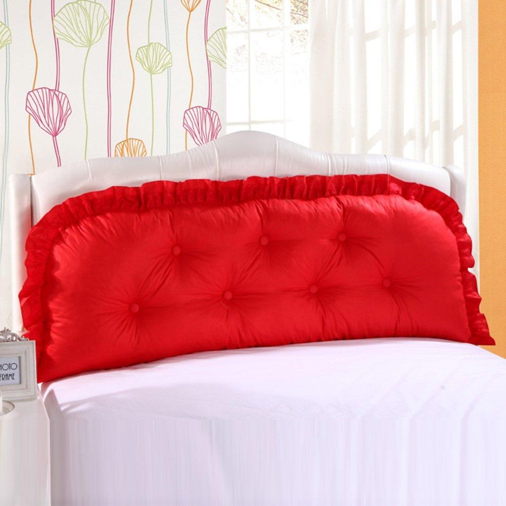 開いた報いる尋ねるZEMIN ベッドサイド クッション 枕 コットン/なし ヘッドボード サポート バックレスト ポケット ソファー 快適 ポリエステル、 13色、 5サイズあり (色 : Red, サイズ さいず : 120x15x55CM)