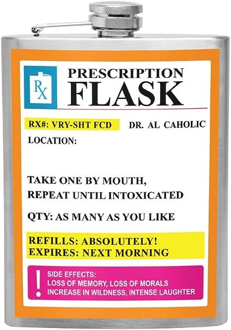 Stainless Steel Flask 'RX Prescription' Spirit Hip Flask