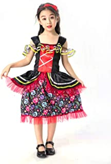 Girls Day of Dead Costume, Skeleton Costume for Girls