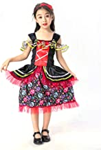yolsun Mexican Day of The Dead Costume for Girls Halloween Kids Dress
