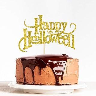 WeBenison Gold Glitter Happy Halloween Cake Topper Bat Pumpkin Theme, Happy Boo Party Decorations