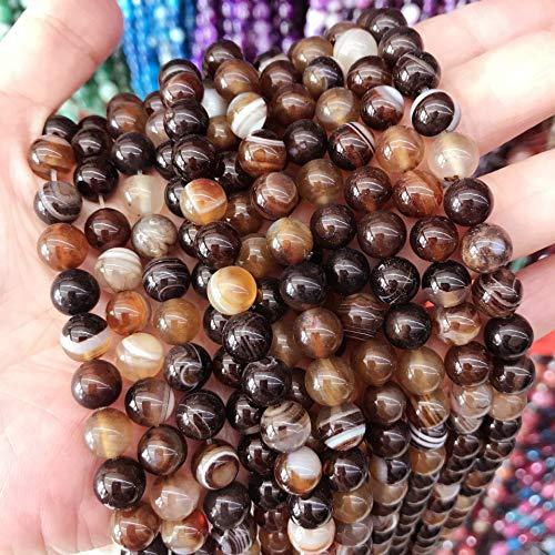 Natur Edelstein Streifen Lace Achat Perlen, 8mm 6mm 4mm, Poliert und Matt, Kugelform Schmuckperlen für Schmuck Armband Kette Schmuckherstellung, Farbauswahl (8mm 15 Stück, Braun Poliert)