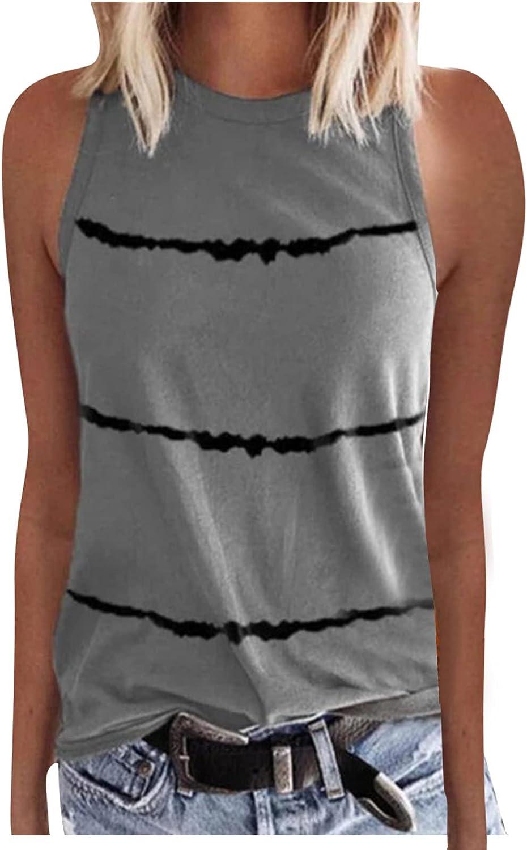 JPLZi Casual Tank Tops for Women, Print O-Neck Tank Tops Sleeveless Workout Shirts Casual Loose Tees