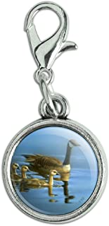 GRAPHICS & MORE Canada Canadian Geese Family Antiqued Bracelet Pendant Zipper Pull Charm with Lobster Clasp