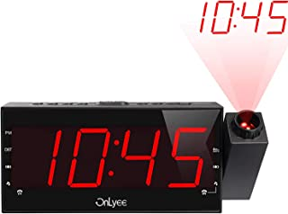 "OnLyee Projection Clock with AM/FM Radio, Sleep Timer, Bedroom Desk Wall Ceiling Clock, 7"" LED Display, 3 Dimmer, Dual Alarm, USB Charging Port for Travel, Bedrooms, Ceiling, Kitchen, Desk, Shelf"