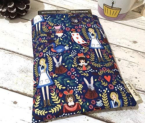Metallic Alice Book Buddy - Custom Size Book Sleeve, Alice in Wonderland Book Cover, Padded Paperback Hardback Pouch