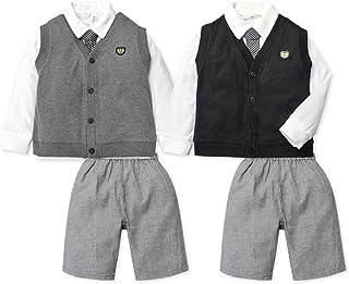 子供服 男の子 フォーマル スーツ 長袖 上下組 3点セット ベスト シャツ ネクタイ付 ハーフ パンツ 千鳥格子 無地 男児 キッズ