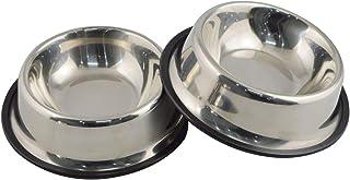 کاسه سگ فولاد ضد زنگ Mlife با پایه لاستیکی برای سگ های کوچک / متوسط / بزرگ، کاسه فیدر حیوانات خانگی و کاسه آب انتخاب کامل (مجموعه ای از 2)