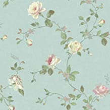 York Wallcoverings SH5509 Vintage Luxe Floral Trail Wallpaper, Pale Blue, Green, Pink, Cream, Aqua