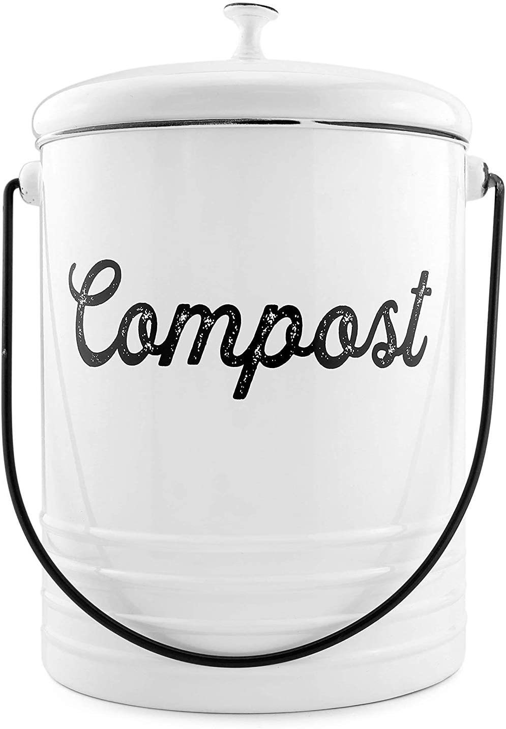 AuldHome White Enamelware Compost Bin, Farmhouse Compost Can Set with Lid and Charcoal Filters, 1.3 Gallon