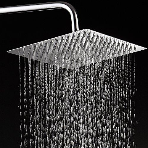 Rociador superior fino del baño de la cabeza de ducha de la lluvia del acero inoxidable de KUNGYO 304 (8 Pugladas Rectangular)