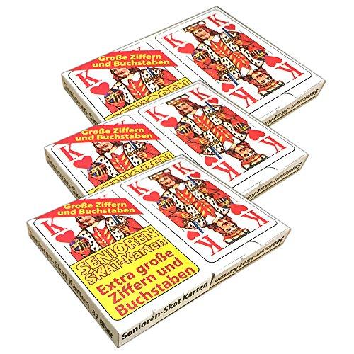 HAC24 3 Packungen Senioren-Skat 2X 32 Spielkarten Skatblatt Skatkarten Skatspiel