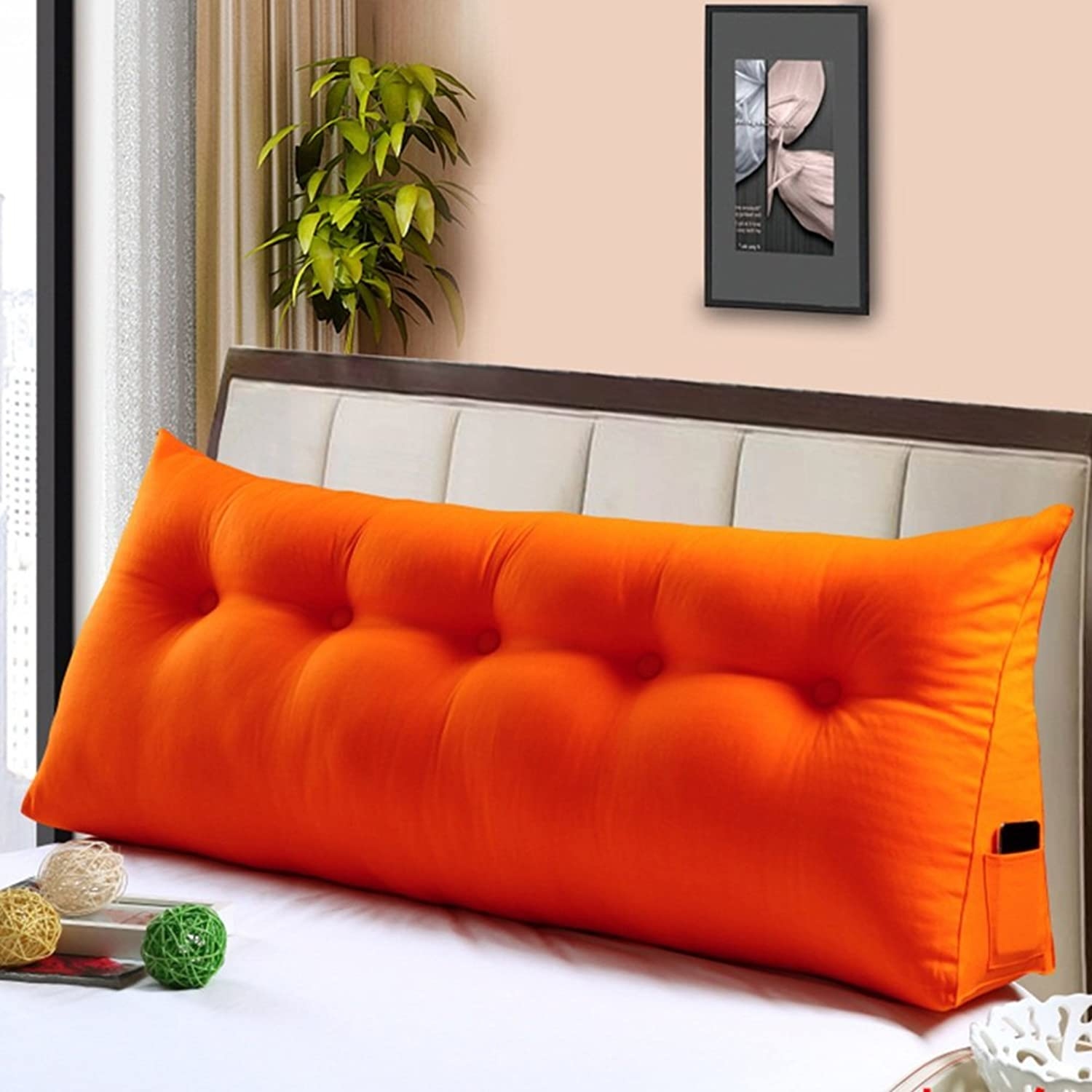 NYDZDM Wedges Headboard Bedside Cushion Pads Cover Bed Wedges Backrest Waist Pad Canvas Triangular Double Bed Soft Case Washable, 6 colors, 5 Sizes (color   4, Size   100 × 50 × 20cm)