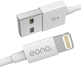 Eono Cable Lightning Cable Cargador de iPhone - [Certificado MFi de Apple] 3.3ft/1m Cargador líder de iPhone Cable de Carga Rápida para iPhone XS MAX X XR 8 7 6s 6 Plus SE 5 5s 5c, iPad, iPod-Blanco