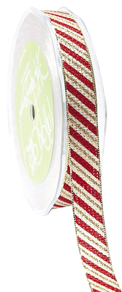 May Arts Ribbon 5/8 Inch Candy Cane Ribbon with Metallic Edge, 25 yd, Ivory/Red/Gold