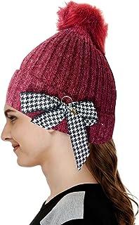 5b28a60d4b12b4 Krystle Girl's Beanies Slouchy Winter Knit Skull Cap Beanie hat Racoon Real  Fur Pom pom Chunky