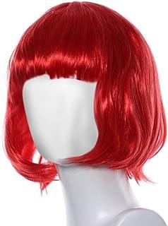 Culater® Pelucas de pelo corto Masquerade show broma guión (Rojo)