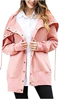 PAQOZ Fashion Women Solid Long Sleeve Hoodie Coat Button Tops Blouse Sweatshirt Coat