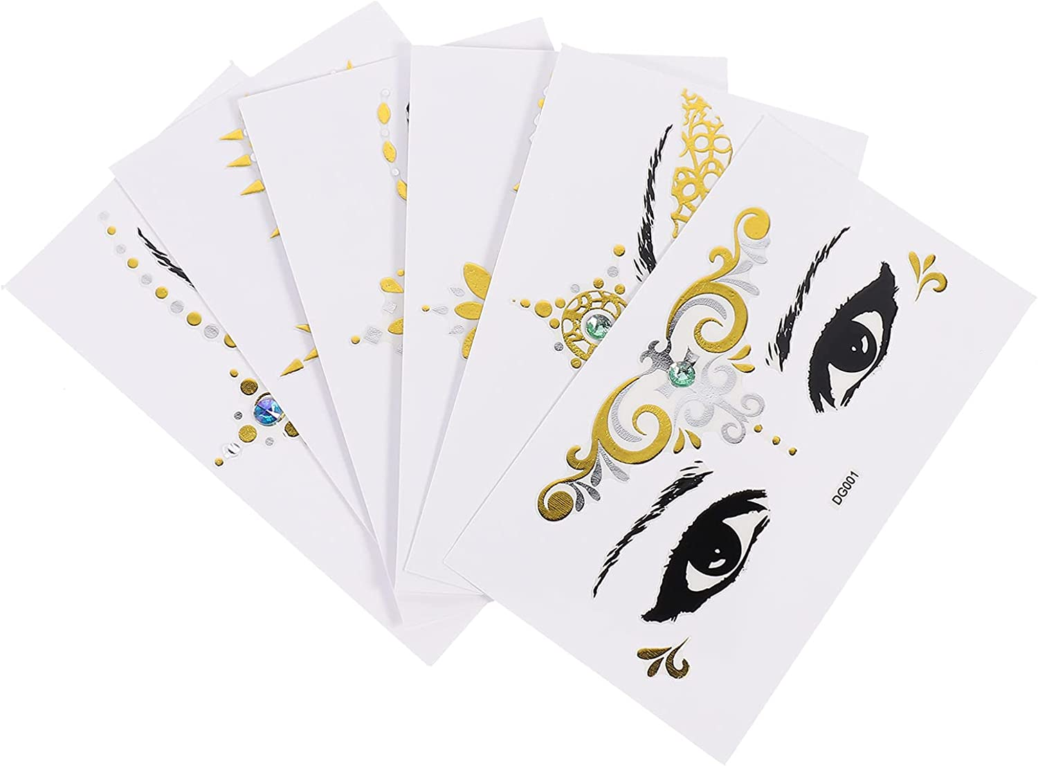 Lurrose 6 Sheets Face Tattoo Transfer Tat Gold Louisville-Jefferson County Mall Max 70% OFF Sticker Temporary