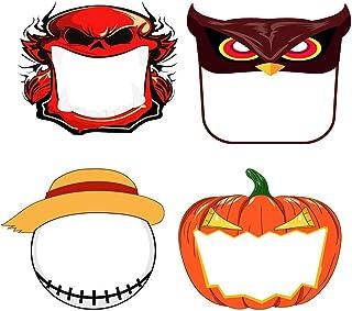 Blssom 4PC Niños al Aire Libre Halloween Estampado de Animales Protectoras Faciales Niños Ajustable Reutilizable Lavable Anti Salpicaduras Cubierta de Cara Completa Ligero Pañuelo Transparente