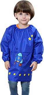 Rocket Cute Cartoon Waterproof Bibs Baby Smock Apron Overclothes for Kids Child Toddler Pullover Long Sleeve Painting Apron Blue 4-6 T