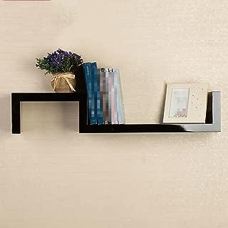 LXYFMS S-type Wall Shelf Hanging Cabinet Shelf Wall Partition Simple Wall Shelf Bookshelf Simple Paint Rack 78x15cm Shelf  color BLACK