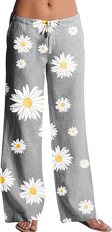 MIVAMIYA Women Comfy Palazzo Lounge Pants Drawstring Elastic Waist Floral Print Trouser Wide Leg Pants Baggy Pajama Bottoms