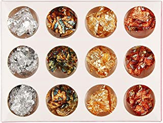 أدوات الأظافر Nukcc ، 12 صندوق الذهب الفضة النحاس رقائق مسمار الفن بريق الأظافر تصميم الديكور