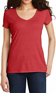 Alternative Womens Top Red US Size Medium M V-Neck Short Sleeve Solid