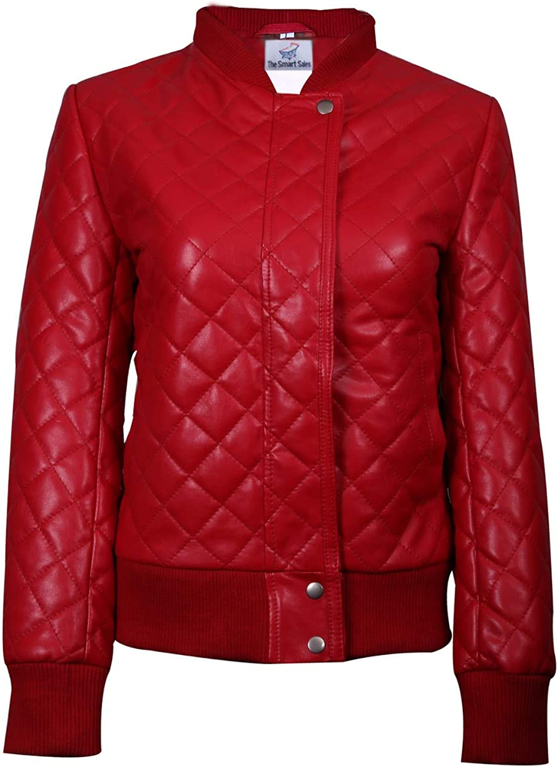 TheSmartSales Assez Red Quilted Bomber Womens Faux Leather Jacket